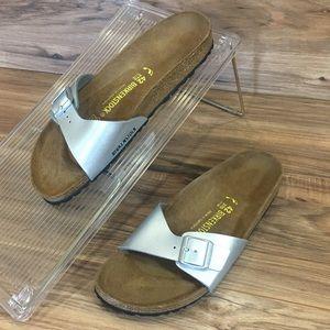 Birkenstock Womens Sandals One Strap Silver New